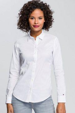tommy hilfiger overhemdblouse heritage slim fit shirt met tommy hilfiger-merklabel op de mouw wit