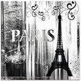 artland print op glas parijs wereldstad - abstracte collage 04 (1 stuk) zwart