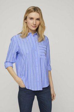 tom tailor blouse met lange mouwen »gestreifte hemdbluse« blauw