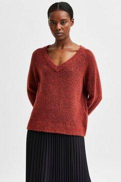 selected femme trui met v-hals slflulu behaaglijk zachte wolblend-kwaliteit rood