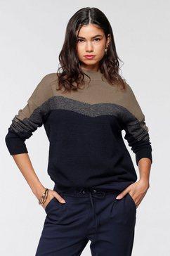 ajc gebreide trui in modieuze colourblocking - nieuwe collectie blauw