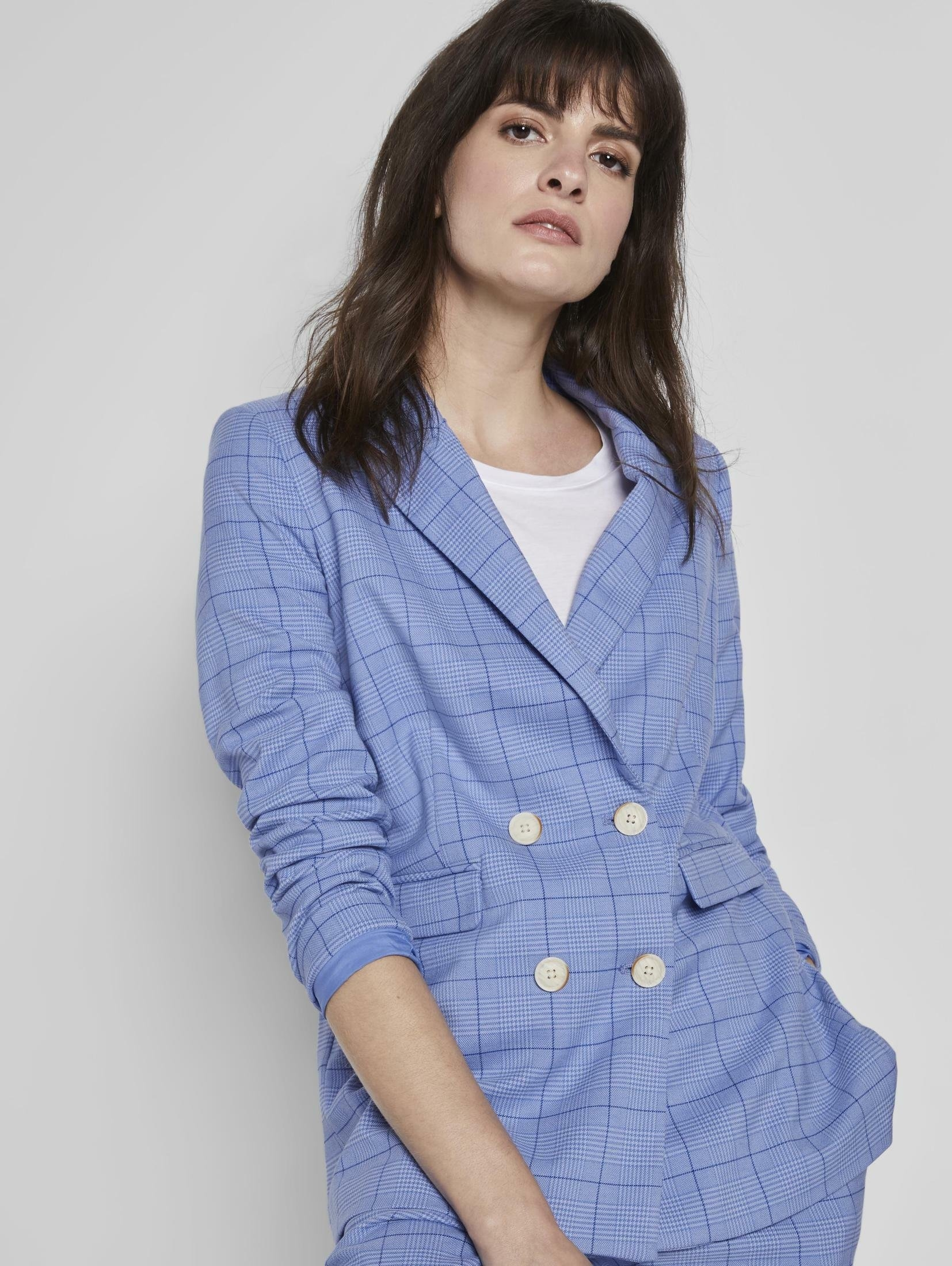 TOM TAILOR mine to five lange blazer Geruite blazer in girlfriend-fit veilig op otto.nl kopen