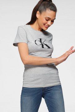 calvin klein shirt met ronde hals core monogram logo regular fit tee met grote ck-logo-print grijs