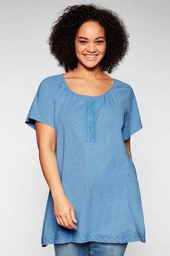 sheego lang shirt met kant en kantzoom blauw