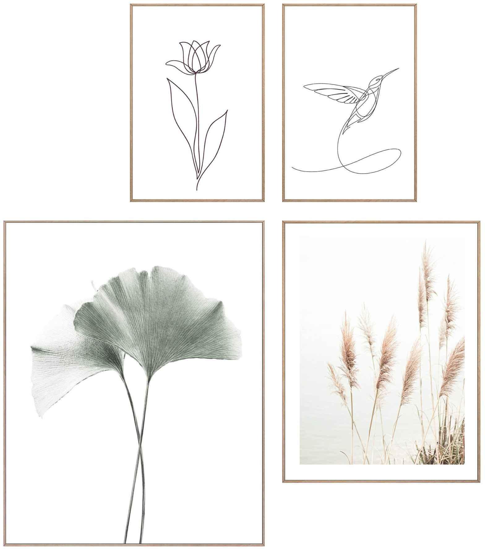 Reinders! artprint Wandbilder Set Linienzeichnung Natur Ginkgo - Kolibrie - Pflanz - Blum - Kunst (4 stuks) - verschillende betaalmethodes