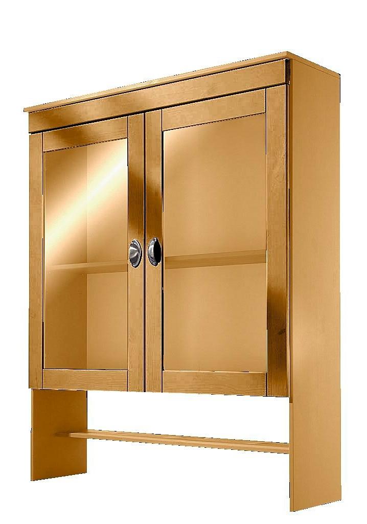 Home affaire vitrinekastopzet Oslo 100 cm breed, met 2 glasdeuren, van massief grenen, metalen grepen bestellen: 30 dagen bedenktijd