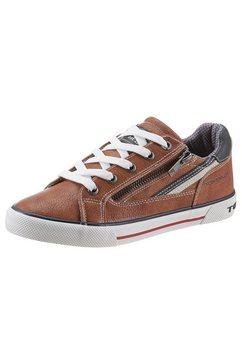 tom tailor sneakers met een ritssluiting aan de buitenkant bruin