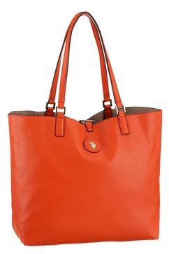 u.s. polo assn shopper malibu tweezijdig te gebruiken shopper met uitneembaar make-uptasje en goudkleurige details oranje