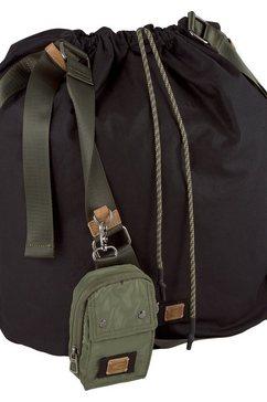 camel active schoudertas laona met kleine losse tas zwart