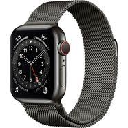 apple watch series 6 gps + cellular, edelstalen kast met milanaisebandje 40 mm inclusief oplaadstation (magnetische oplaadkabel) grijs