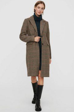 vero moda wollen jas vmblast check long wool jacket bruin
