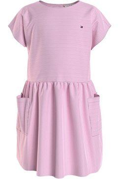 tommy hilfiger blousejurkje lg neon stripe dress s-s met grote zakken roze