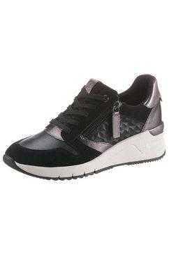 tamaris sneakers met sleehak rea met metallic-details zwart