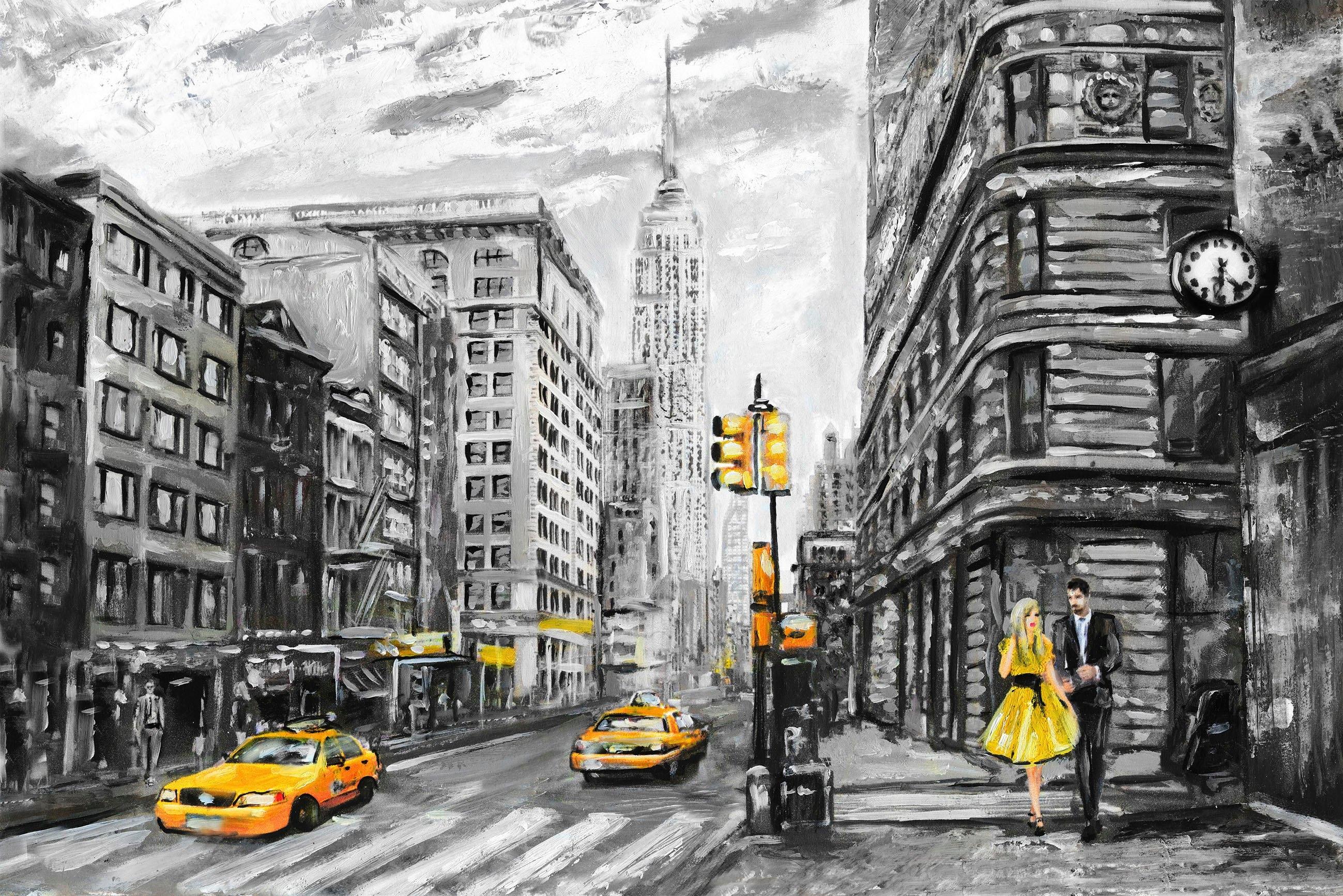 queence artprint op linnen New York nu online bestellen
