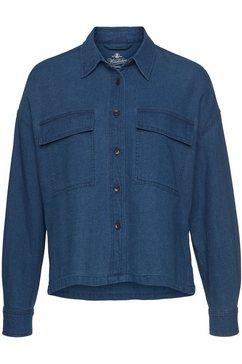 herrlicher jeansblouse lash oversized hoekig model blauw
