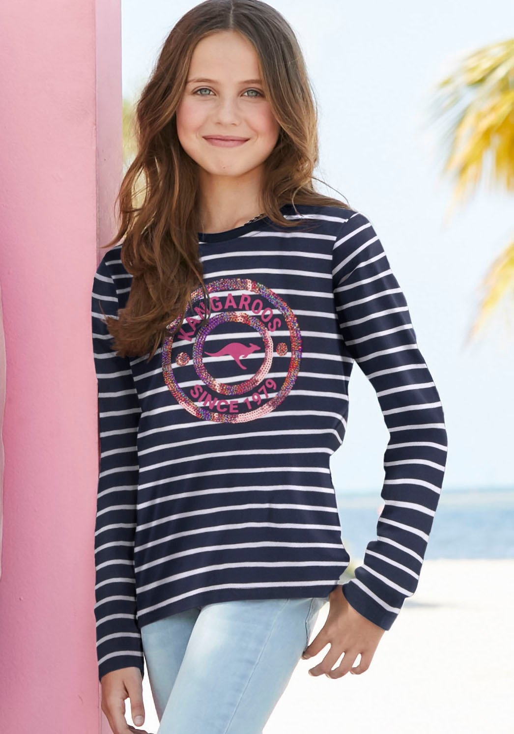 KangaROOS shirt met lange mouwen met paillettenapplicatie nu online kopen bij OTTO
