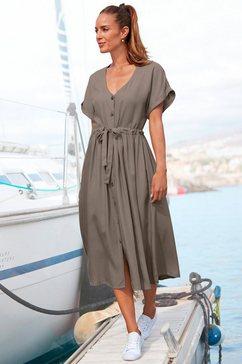 lascana midi-jurk van geweven viscose groen