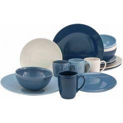 home affaire combi-servies miltery (set, 16 delig) blauw