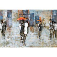 gilde gallery metalen artprint kunstobject rainy day met de hand gemaakte artprint, 120x80 cm, van metaal, woonkamer (1 stuk) multicolor