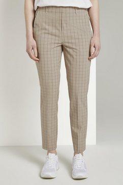 tom tailor denim chino »karierte chinohose mit elastischem bund« beige