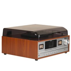 denver platenspeler denver retro musiksystem mrd-52 lightwood zwart