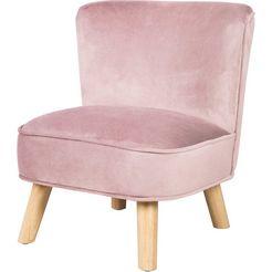 roba fauteuil lil sofa met houten voetjes roze