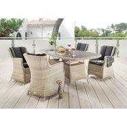 destiny eethoek luna 4 stoelen en tafel, gemakkelijk te onderhouden polyrotan, met kussens (set, 13 delig) wit