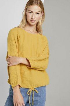 tom tailor denim blouse met lange mouwen »strukturierte bluse mit tunnelzug« geel