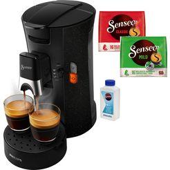 senseo koffiepadautomaat select eco csa240-20, inclusief gratis toebehoren ter waarde van € 14,- vap zwart