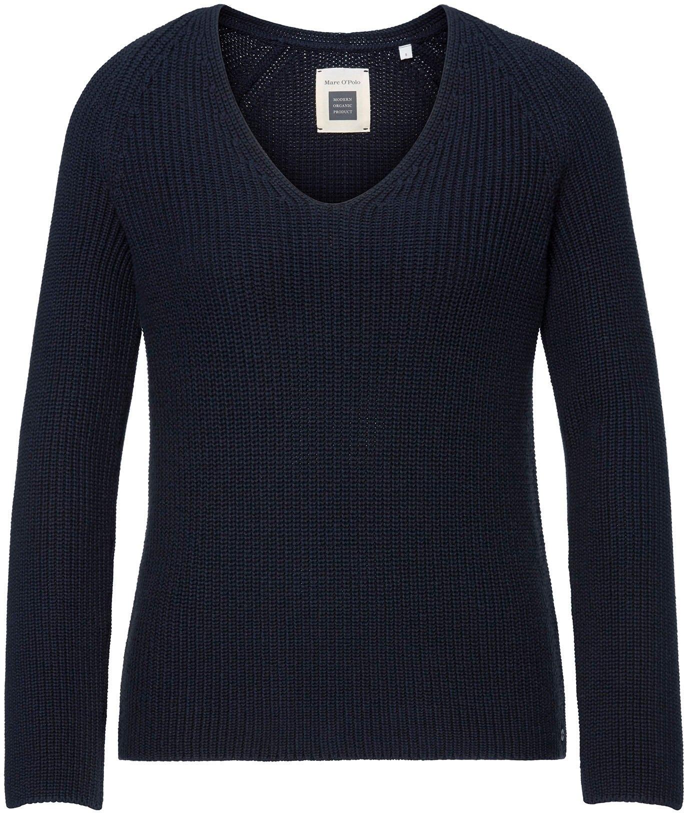 Marc O'Polo gebreide trui met een decoratief breimotief op de mouw en v-hals - gratis ruilen op otto.nl