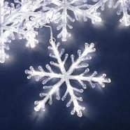 konstsmide decoratieve ledverlichting led acryl sneeuwvlokken lichtgordijn, voor buiten, set van 5, 60 koudwitte dioden, buitentransformator, transparante kabel wit