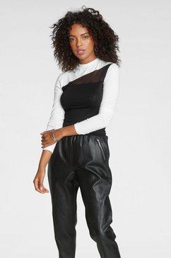 melrose shirt met staande kraag met een mesh-inzet - nieuwe collectie zwart