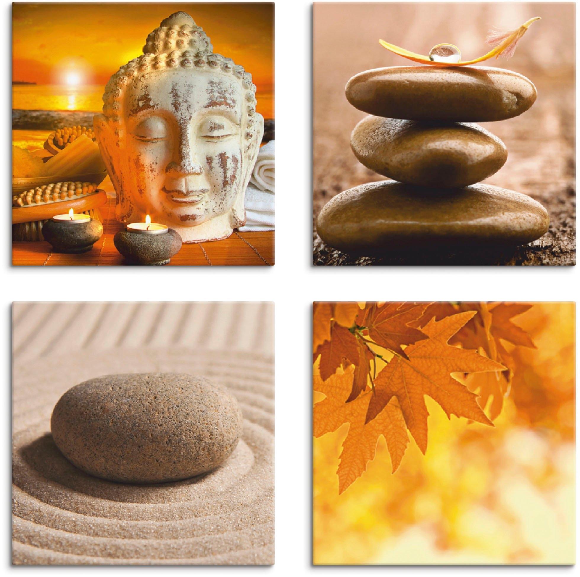 Artland Artprint op linnen Boeddha-standbeeld zen tuin massagestenen (4 stuks) in de webshop van OTTO kopen