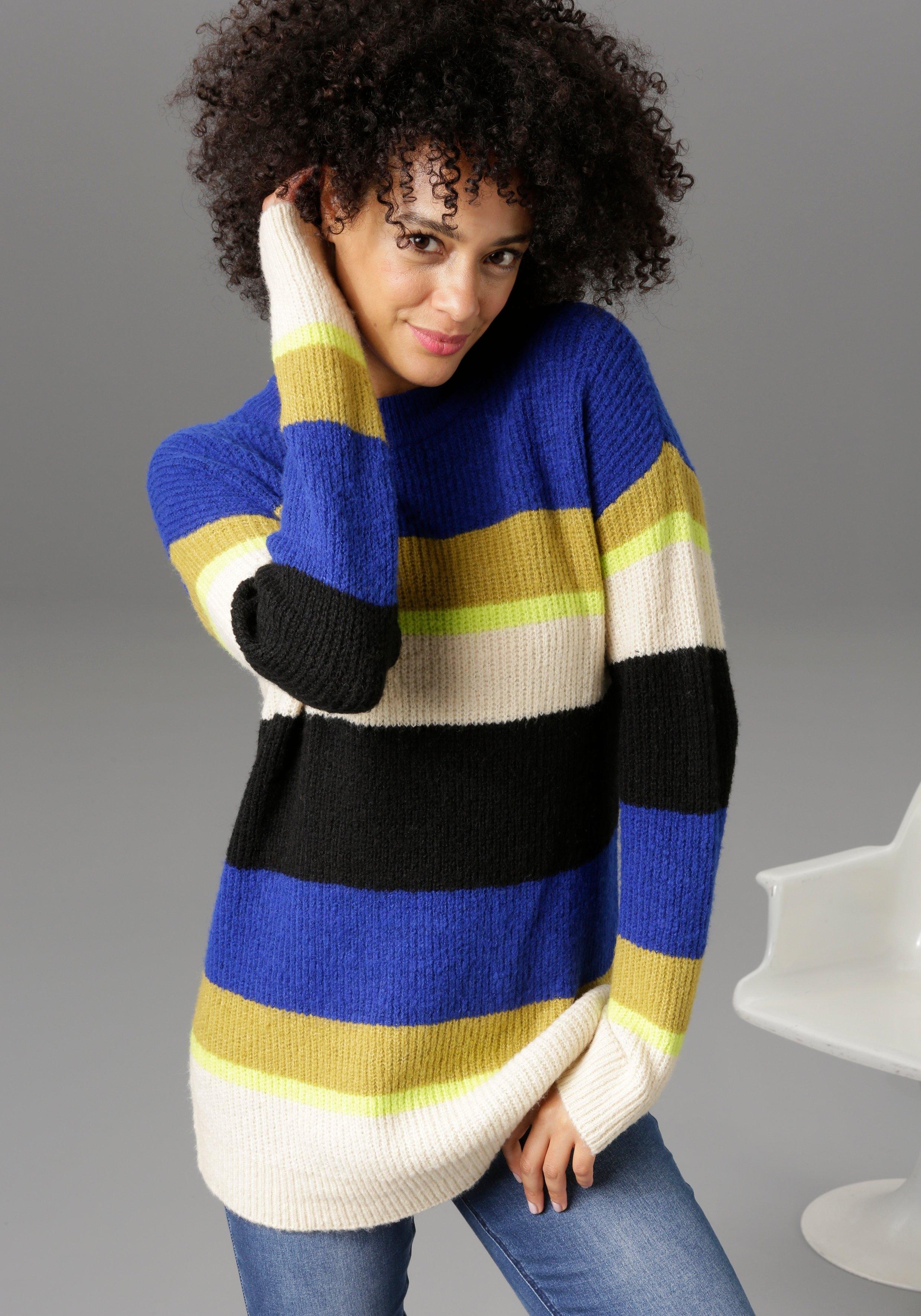 Aniston CASUAL Trui met ronde hals in colourblocking - nieuwe collectie nu online kopen bij OTTO