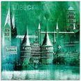 artland print op glas luebeck hanzestad collage 05 (1 stuk) groen