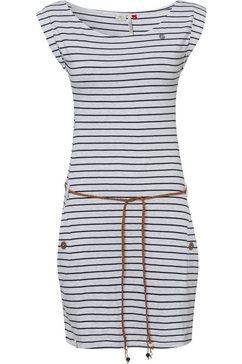 ragwear jerseyjurk tag stripes o in streepdessin (2-delig, met een bindceintuur) wit