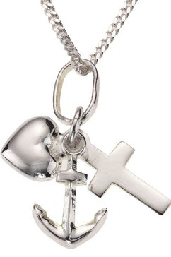 firetti ketting met hanger geloof, liefde  hoop, in platte pantserkettingschakels zilver