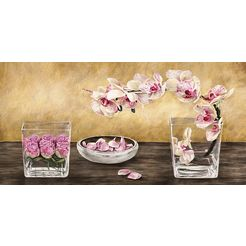 artprint »orchideen und rosen in vasen« multicolor