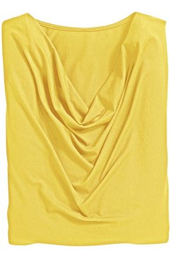 classic inspirationen shirt met prachtige cascadehals geel