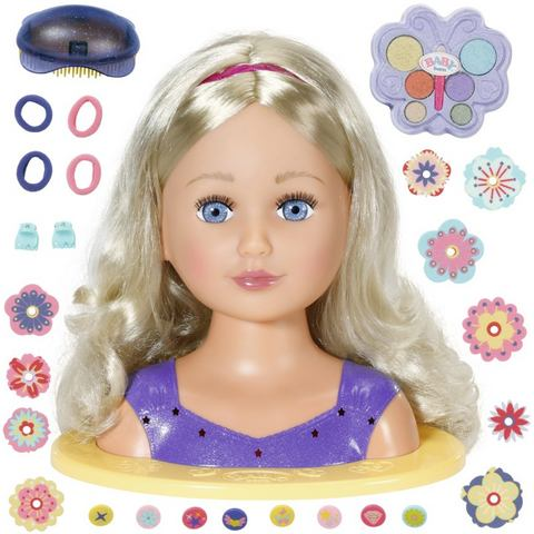 Baby Born Sister Styling Head, lila kap- & make-uphoofd