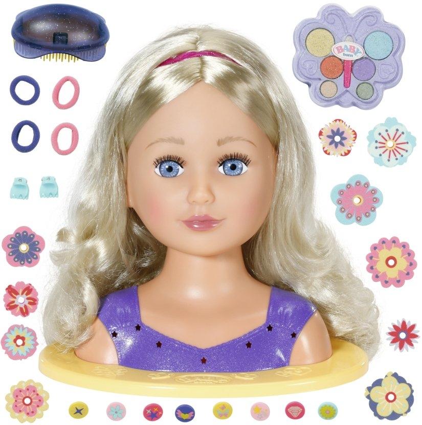 Baby Born kap- & make-uphoofd Sister styling head, paars met 24 leuke accessoires - gratis ruilen op otto.nl