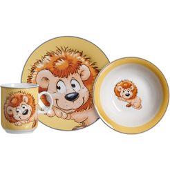 ritzenhoff  breker kinderservies-set happy zoo, leo, (set, 3-delig) multicolor