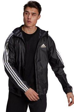 adidas performance windbreaker »basic 3stripes wind jacket« zwart