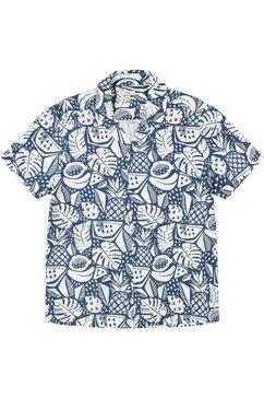 edc by esprit overhemd met korte mouwen all-over gedessineerd blauw