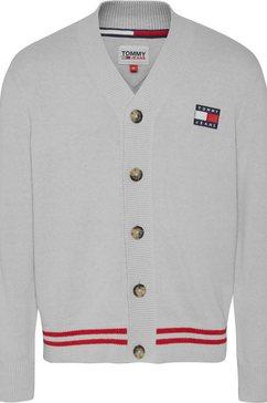 tommy jeans vest tjm badge textured cardigan grijs