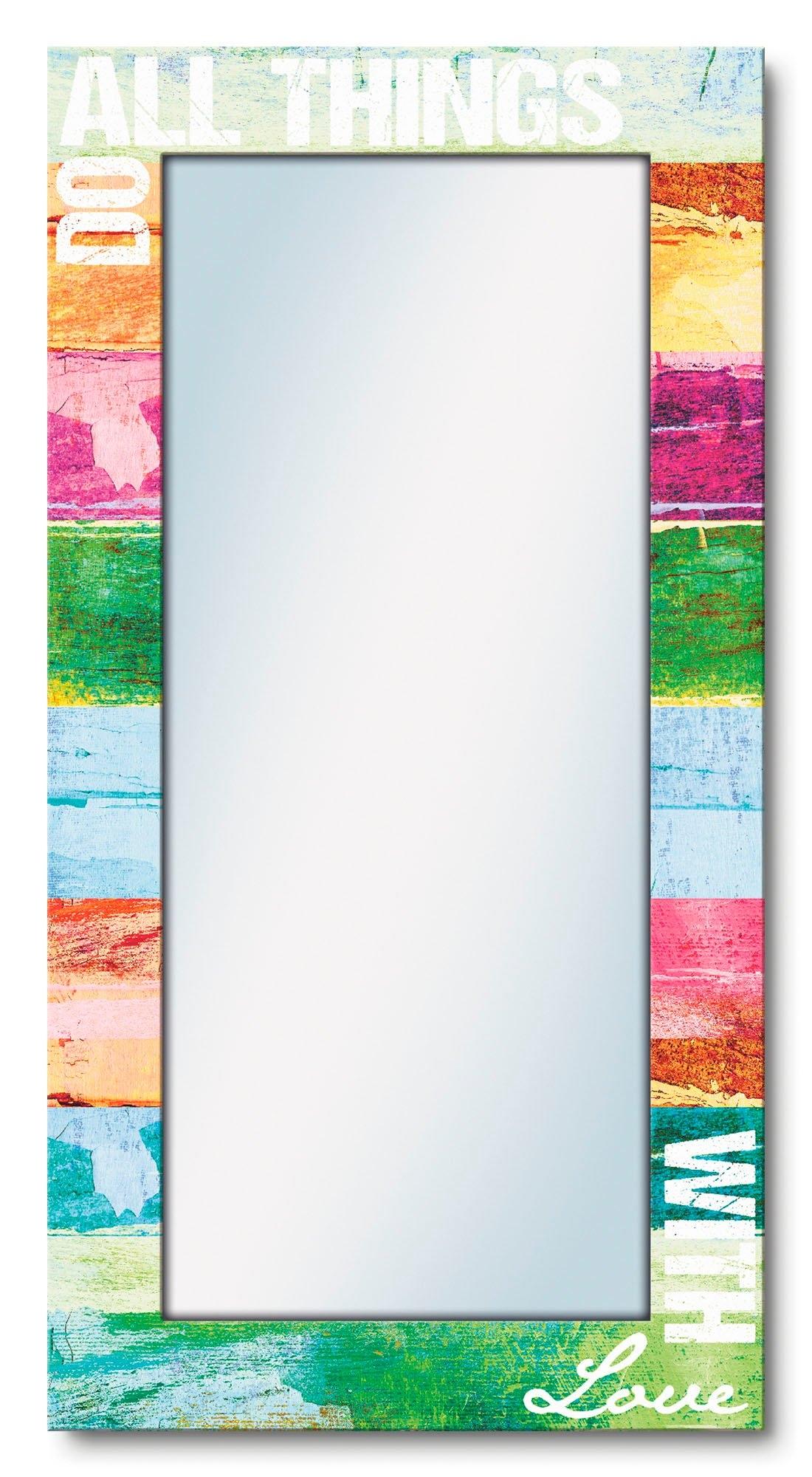 Artland wandspiegel Doe alles met liefde ingelijste spiegel voor het hele lichaam met motiefrand, geschikt voor kleine, smalle hal, halspiegel, mirror spiegel omrand om op te hangen voordelig en veilig online kopen