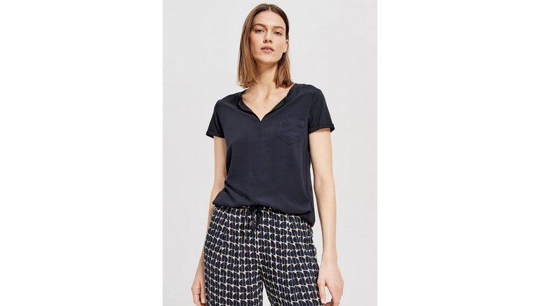 OPUS blouse met korte mouwen Faleria met strikdetail
