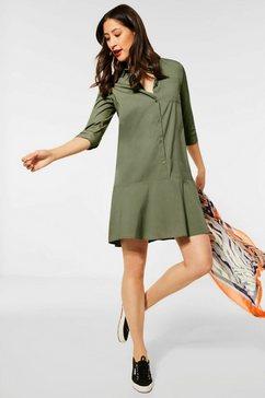 street one jurk met overhemdkraag met borstzak groen