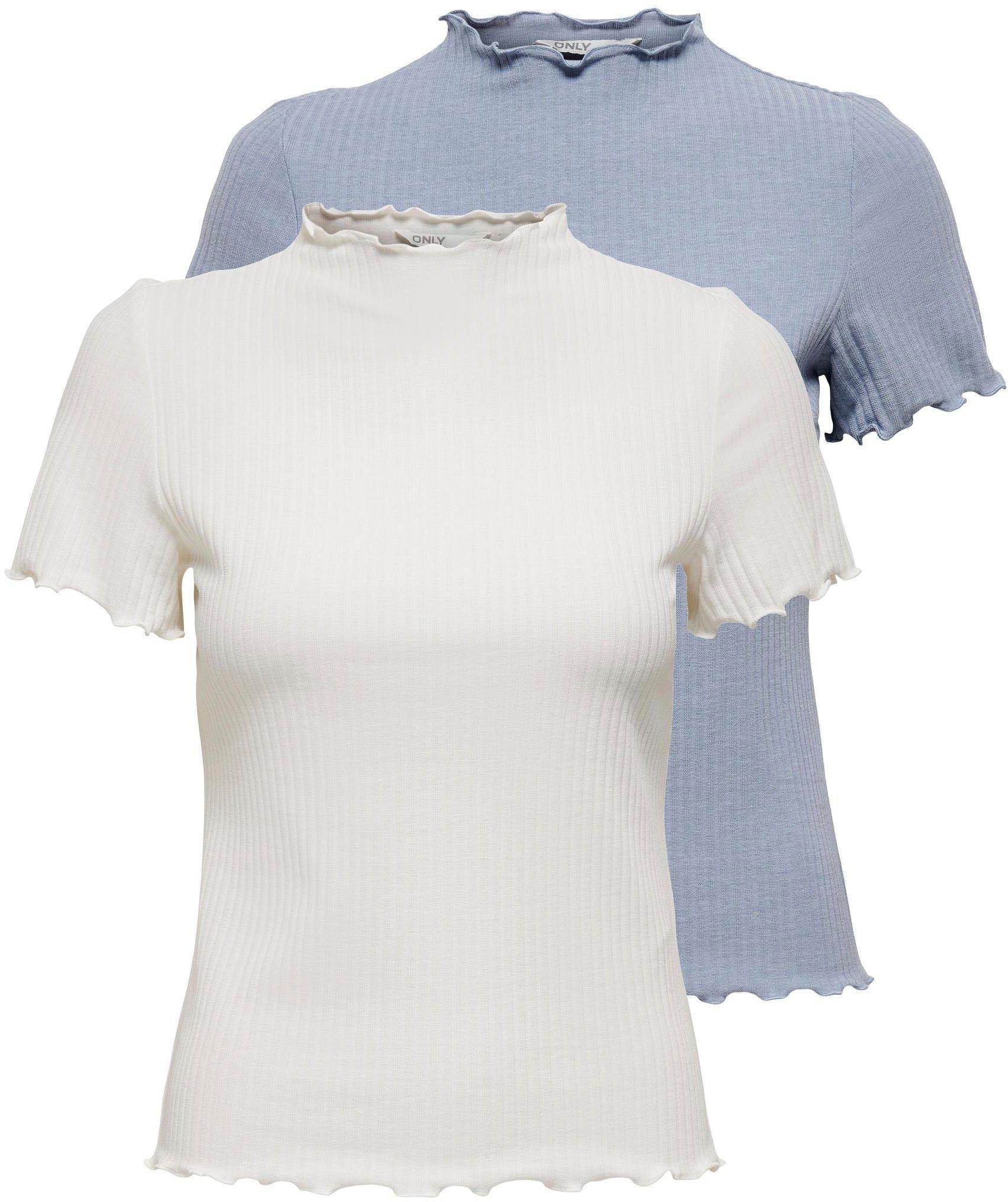 Only T-shirt ONLEMMA in geribde look (Set van 2) bestellen: 30 dagen bedenktijd