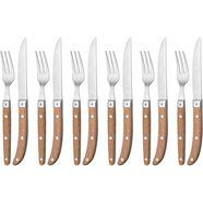 wmf steakbestek ranch cromargan-edelstaal 18-10 gematteerd, eikenhout geolied, 12-delig (set, 12-delig) bruin